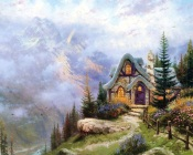 Thomas Kinkade - House in the Mountains