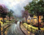 Thomas Kinkade - Walking in the Rain