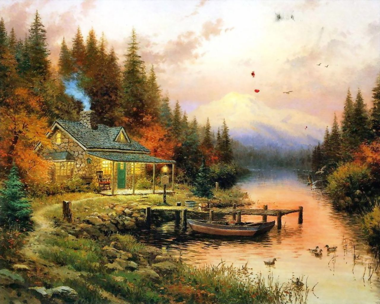 Art / Thomas Kinkade - House Near the River #3104