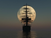 Sail Ship Silhouette at the Moon