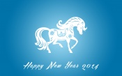Happy New Year 2014, Blue Background